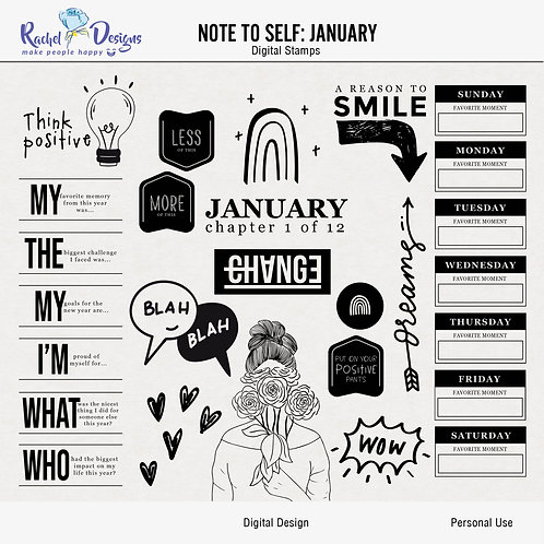 Note To Self January - Digital Stamps