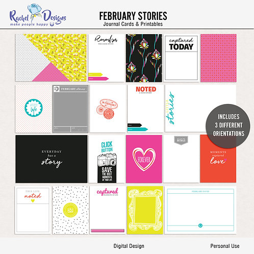 February Stories - Journal cards