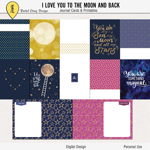 I Love you to the moon and back - Journal cards