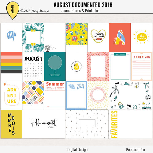 August Documented 2018 - Journal cards