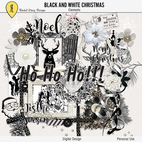 Christmas Black & White Elements