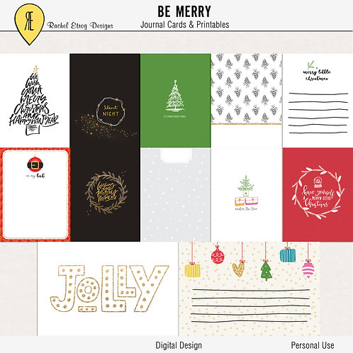 Be Merry - Journal cards