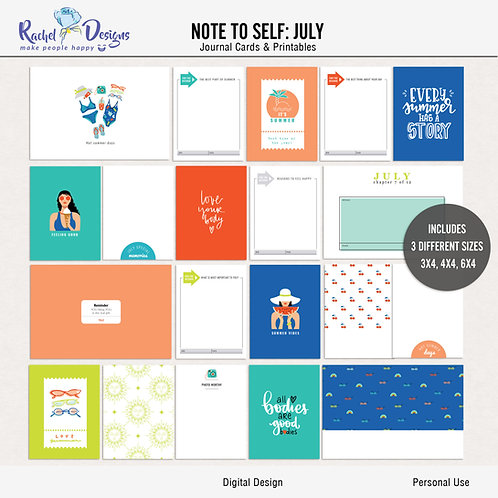 Note To Self July - Journal cards