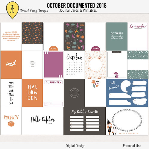October Documented 2018 - Journal cards