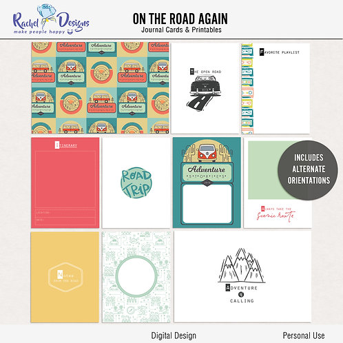 On The Road Again - Journal cards