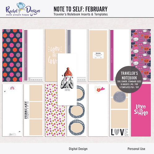 Note To Self February - Traveler's Notebook