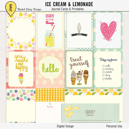 Ice Cream Lemonade Journal Cards