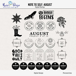 Note To Self August - Digital Stamps