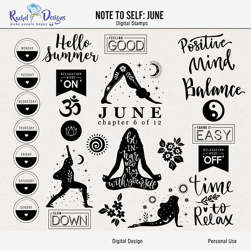 Note To Self June - Digital Stamps