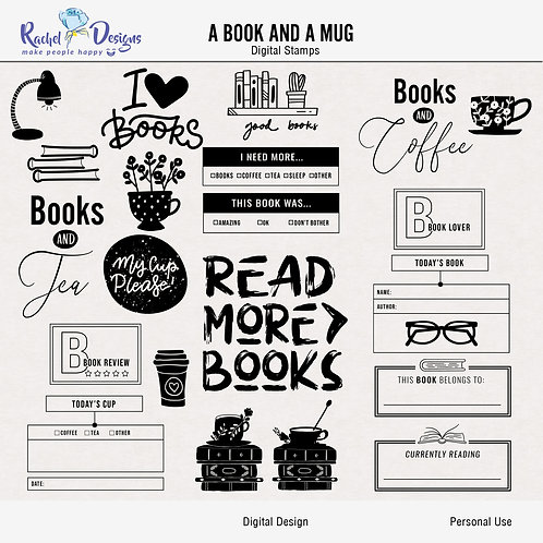 A Book And A Mug - Digital Stamps