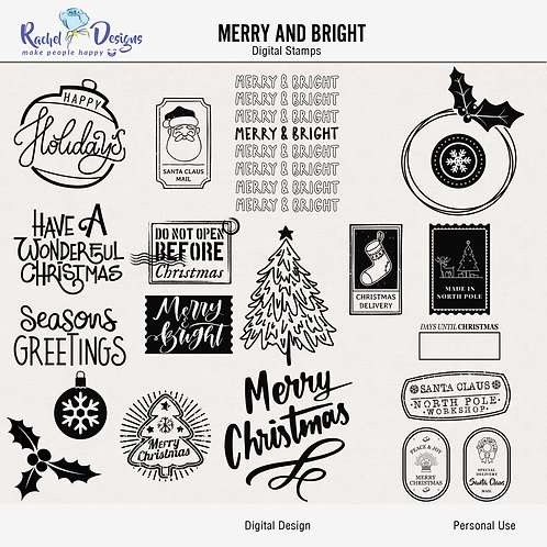 Merry And Bright - Digital Stamps