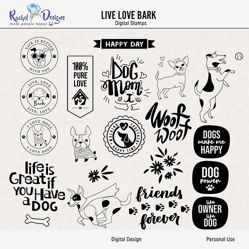 Live Love Bark - Digital Stamps