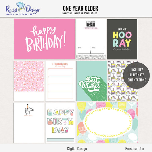 One Year Older - Journal cards