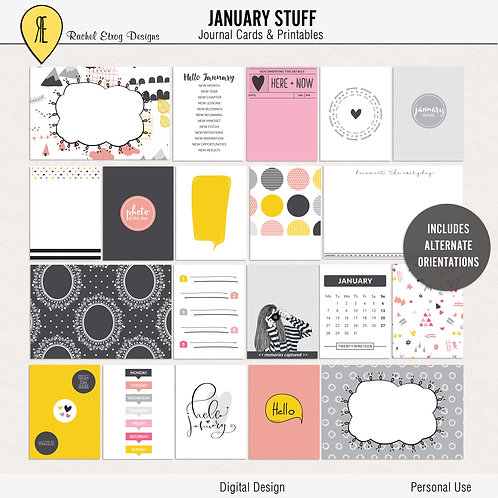 January Stuff - Journal cards