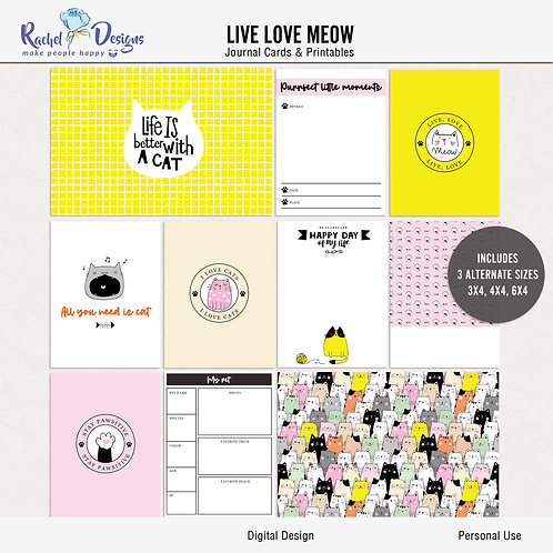 Live Love Meow - Journal cards