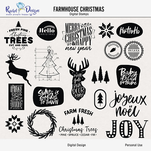 Farmhouse Christmas - Digital Stamps