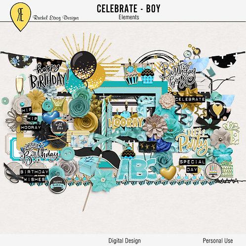 Celebrate Boy - Digital Scrapbooking Elements