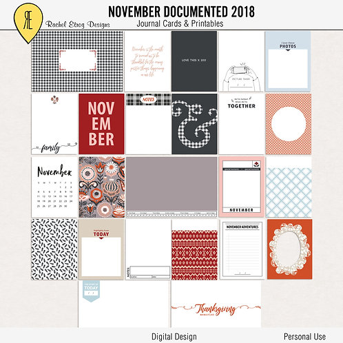 November Documented 2018 - Journal cards