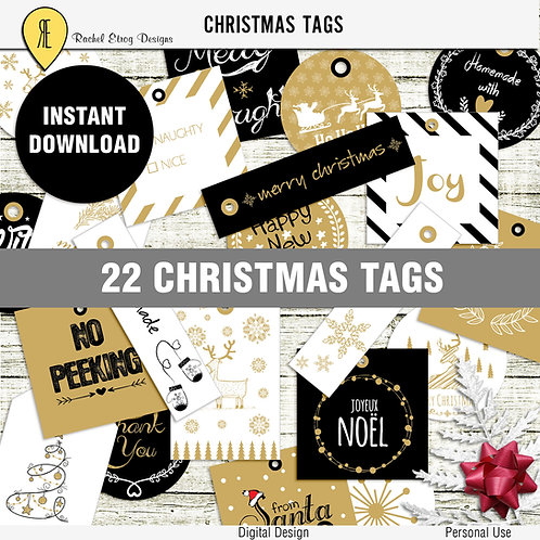 Black And Gold Christmas Tags
