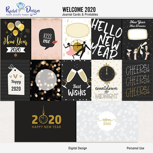 Welcome 2020 - Journal cards