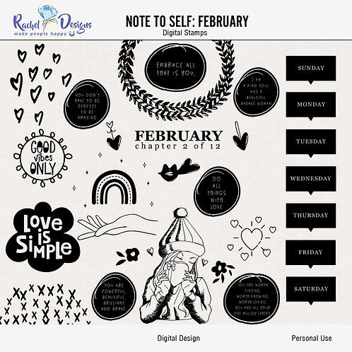Note To Self February - Digital Stamps