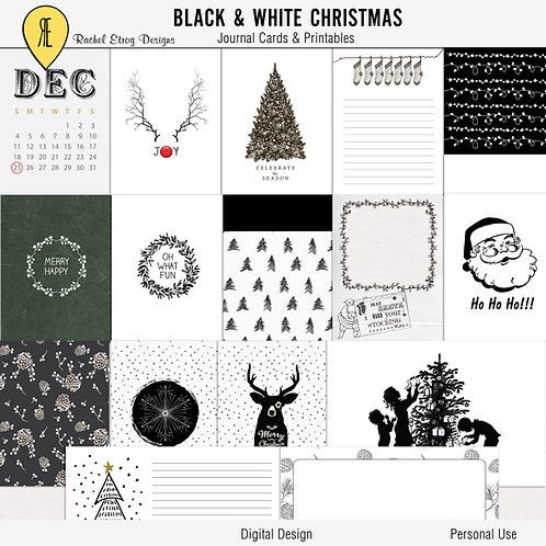 Black & White Christmas Journal Cards