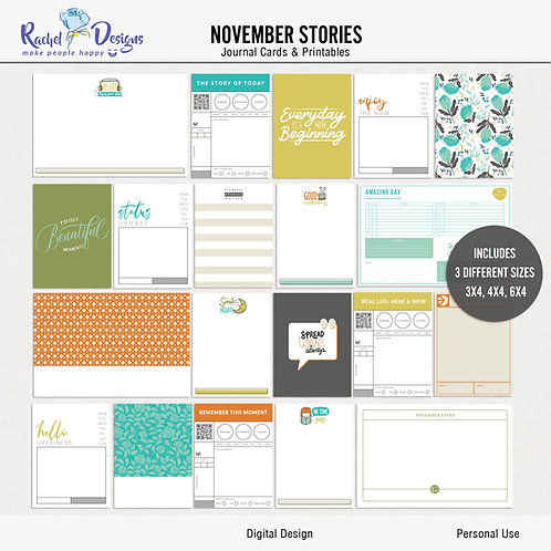 November  Stories - Journal cards