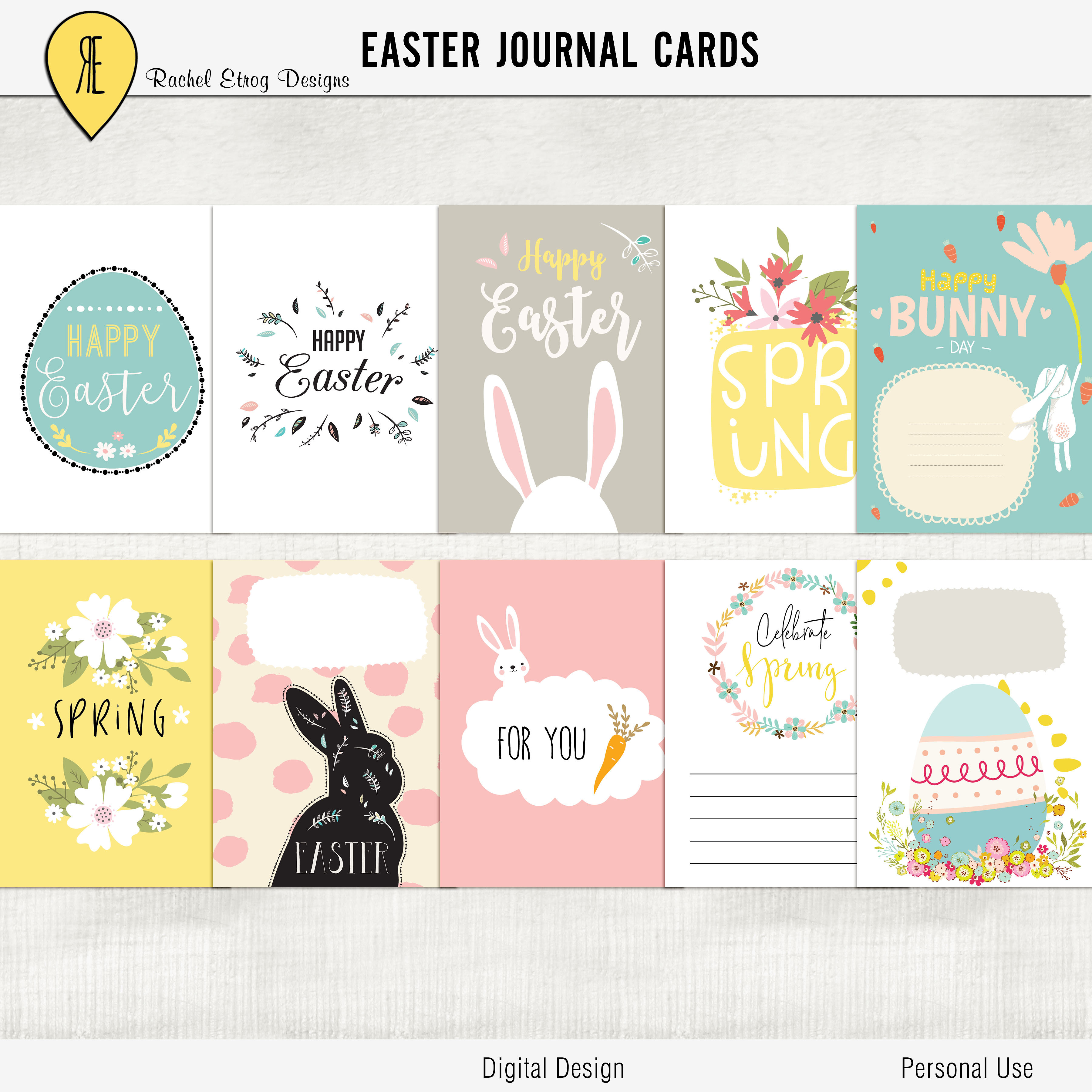 Racheletrogdesigns easter tags journal cards these beautiful easter digital gift tags add a lovely touch to your easter gifts to the decor table and party in easter holiday negle Images