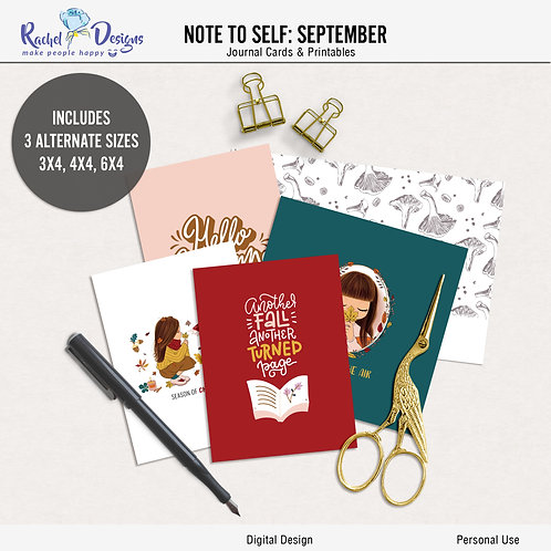Note To Self September - Journal cards