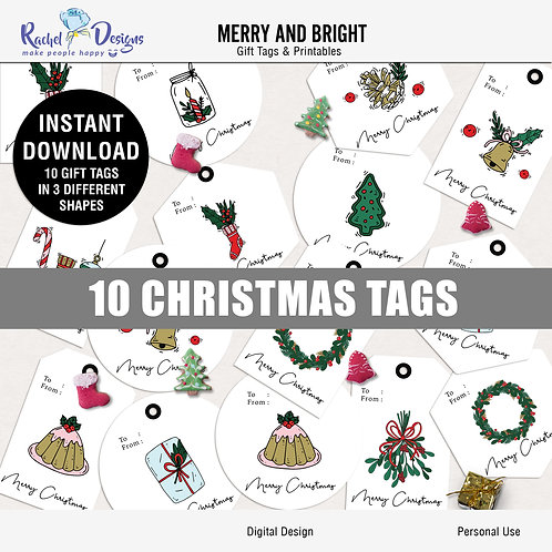 Merry And Bright - Gift Tags