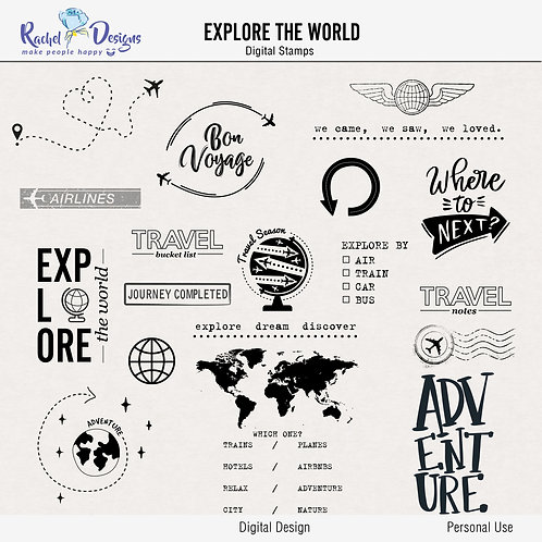 Explore The World- Digital Stamps