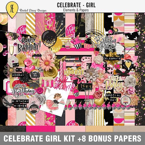 Celebrate Girl - Digital Scrapbooking Full Kit