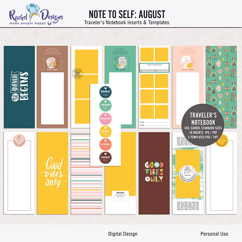 Note To Self August - Traveler's Notebook