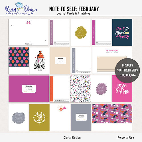 Note To Self February - Journal cards