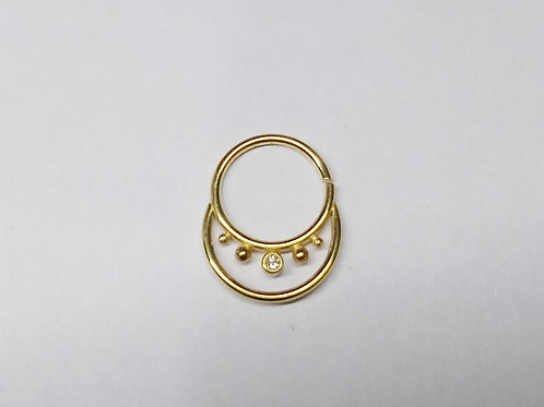 Double ring with sapphire