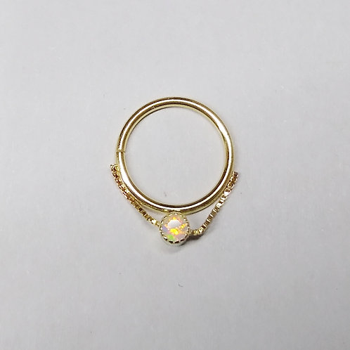 Chained opal ring