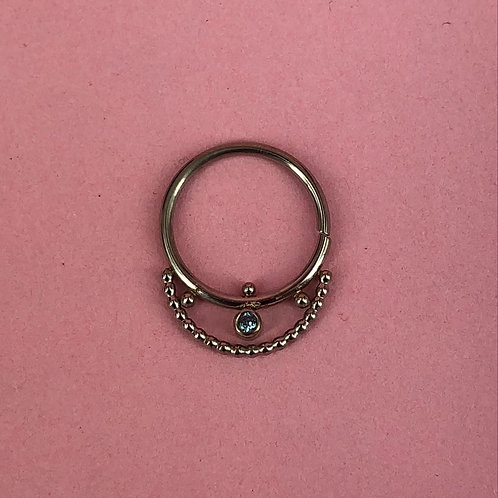 Fixed chain stone ring