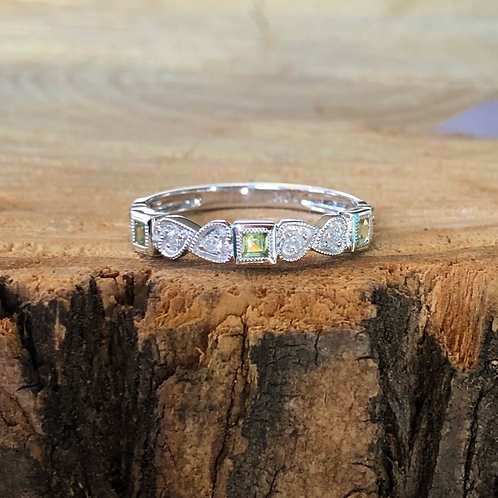 Peridot and Diamond Stackable
