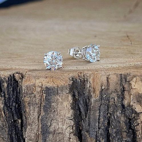 Diamond Stud Earrings - Hearts & Arrows