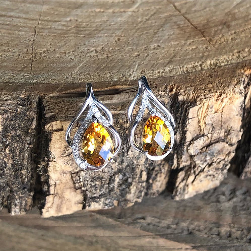 Citrine and Diamond Earrings