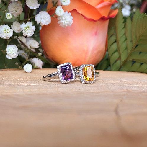 Gemstone Halo Ring