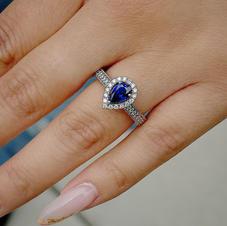 Genuine Blue Sapphire and Diamond Engagement Ring