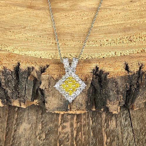 White and Yellow Diamond Pendant