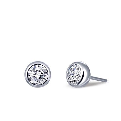 Bezel Set Stud Earrings