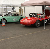 Doug Escriva's and Lerry Pederson's race Healeys in the Pits at PIR
