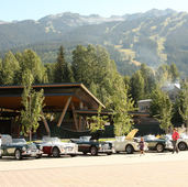 Healeys from the AHC's of BC, WA, & OR on display in the courtyard at the Whistler Olympic ski area during a NW Meet.