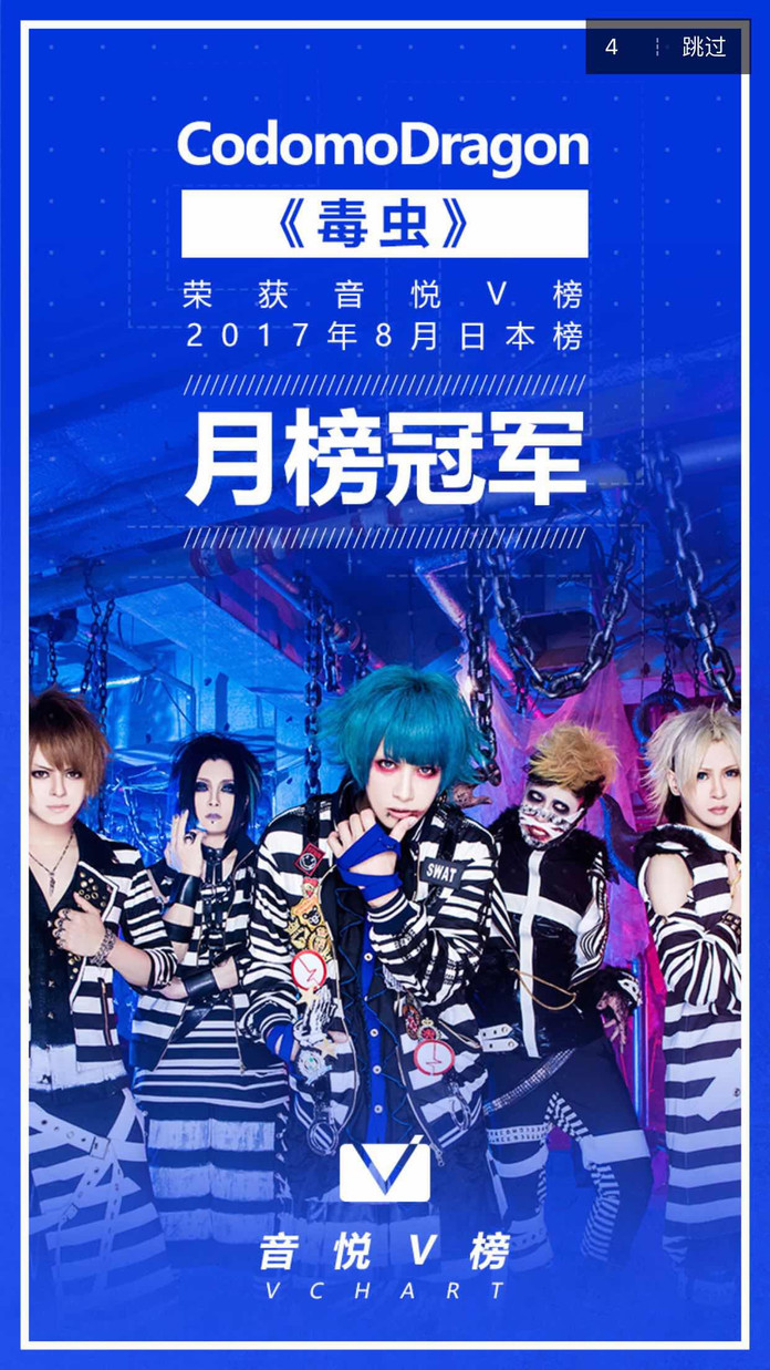 コドモドラゴン《毒虫》MV连续六周音悦V榜第一!同时获得7、8月月榜单冠军!!!