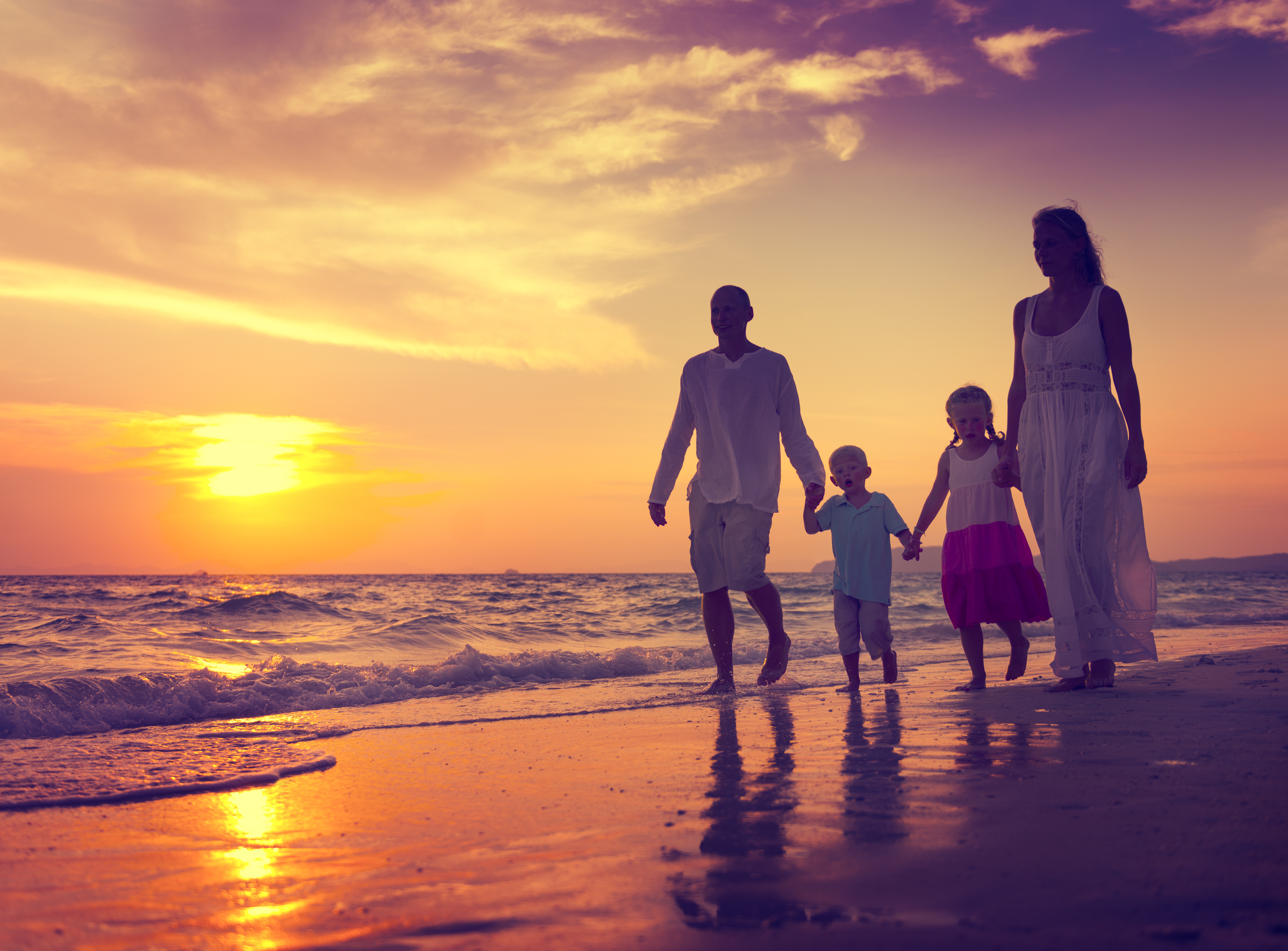 Family Walking Beach Sunset Travel Holid