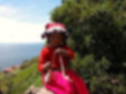 little girl in taquile island