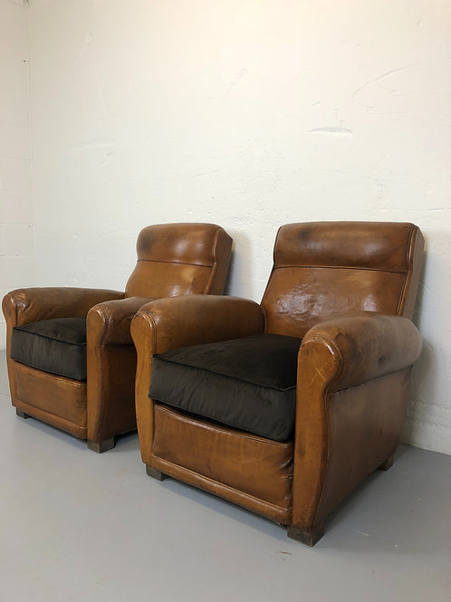 Large pair of french leather club chairs
